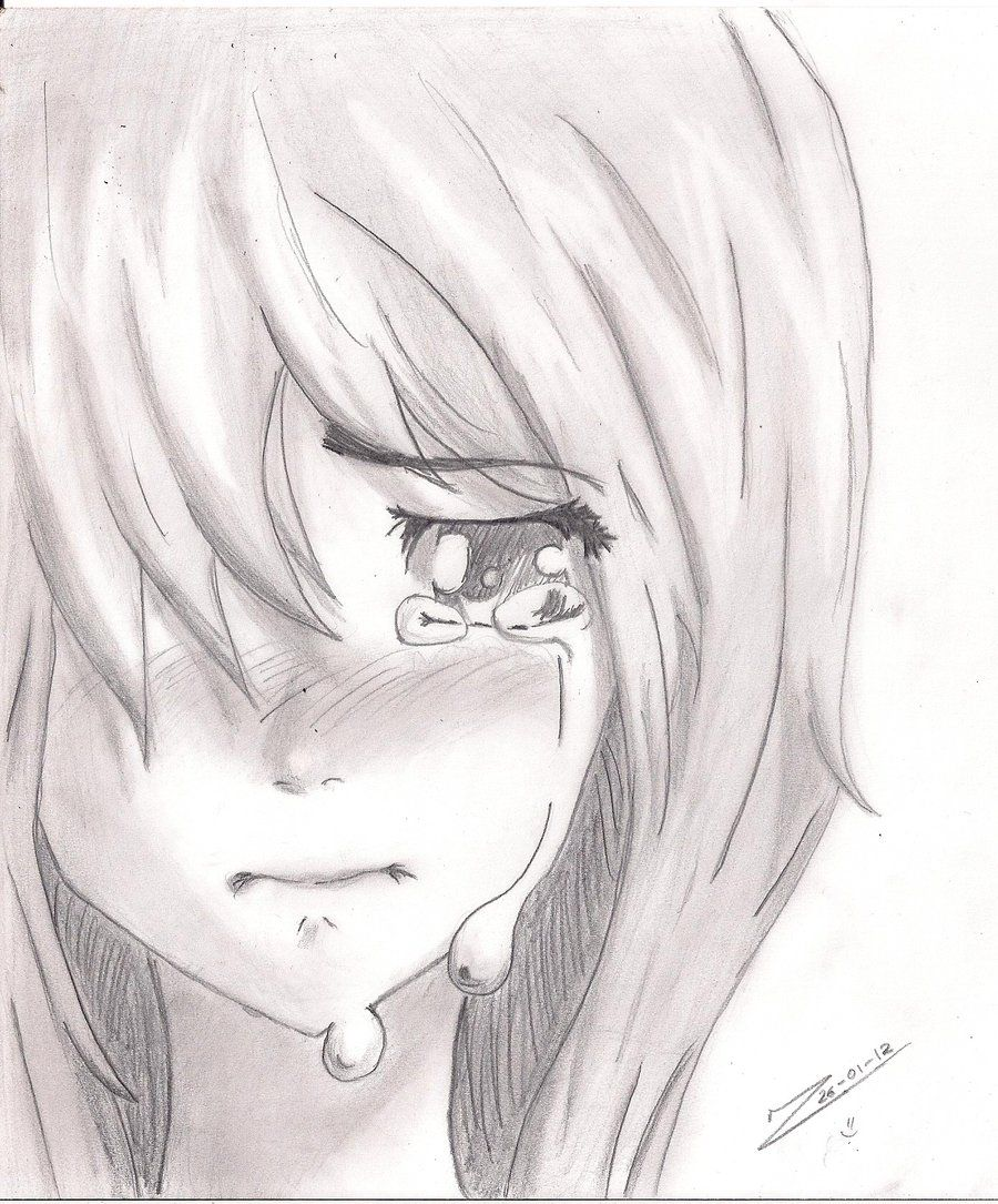 Sad Anime Girl Black And White Pencil Sketch