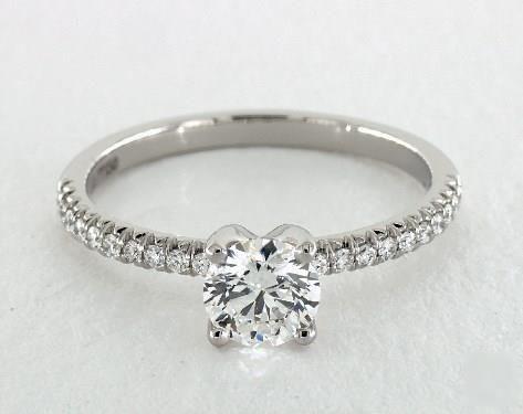 .7ct Pave Round Engagement Ring Platinum