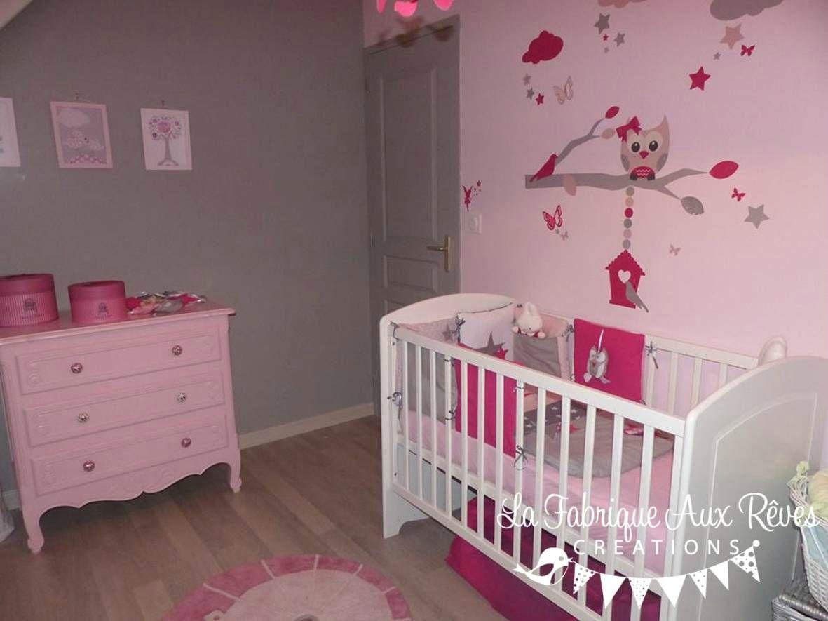 dcoration chambre bb fille stickers tour lit rose fuchsia poudr gris argent hibou chouette