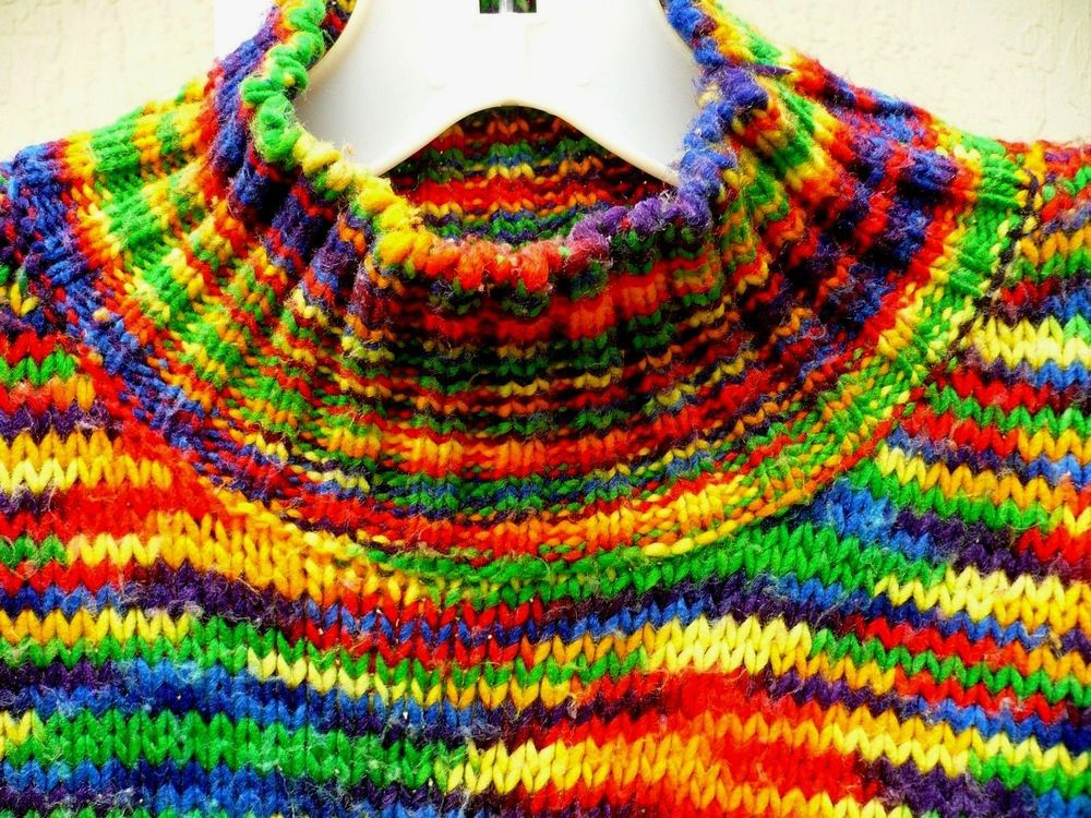 VTG PREZZIA SZ L XL MULTI COLOR RAINBOW HIGH NECK FESTIVAL COSTUME SWEATER WOMEN #PREZZIA #TurtleneckMock