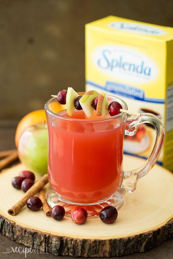 La boisson de vacances idéale, cette lente cidre Cooker Cranberry Apple est fait avec la pomme, la canneberge et le jus d'orange!  Parfait pour votre fête de Thanksgiving ou de Noël.  #splendasweeties #sweetswaps