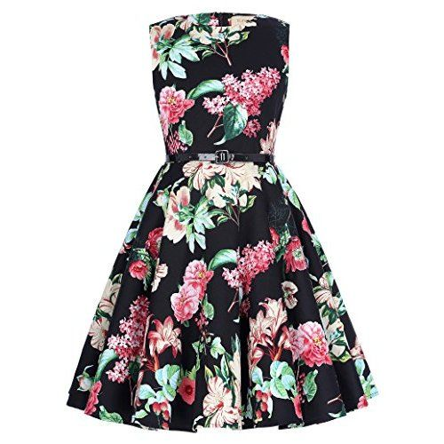 be16fe9391 Girls Skater Dress Kids Neon Tropical Print Summer Party Dresses New ...