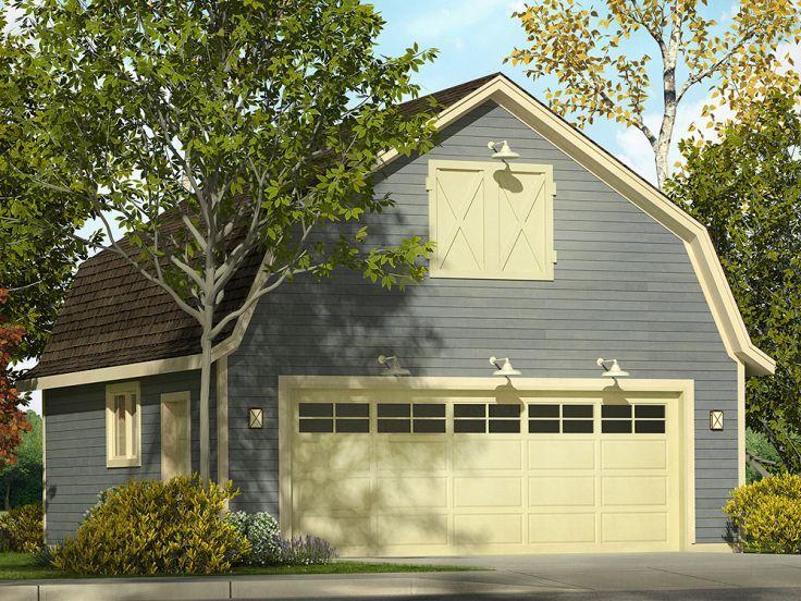 051G 0087: 2 Car Garage Loft Plan With Gambrel Roof