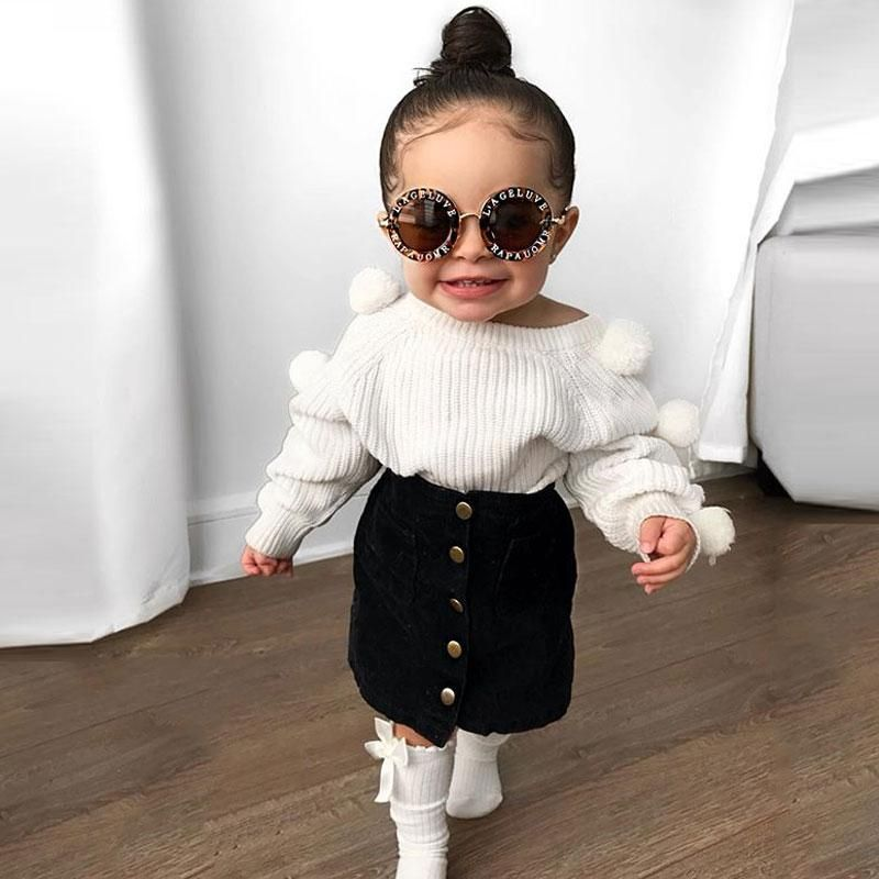 Photo of Baby Girl's Knitted Pompom Sweater + Button Mini Skirt