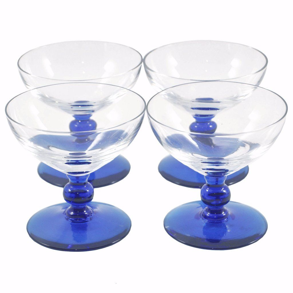 96b0ea0aa8c Vintage Art Deco Cobalt Blue Stem Clear Champagne / Cocktail Coupe Glasses.  Available at The Hour Shop & TheHourShop.com ~ curated cocktail glassware  ...