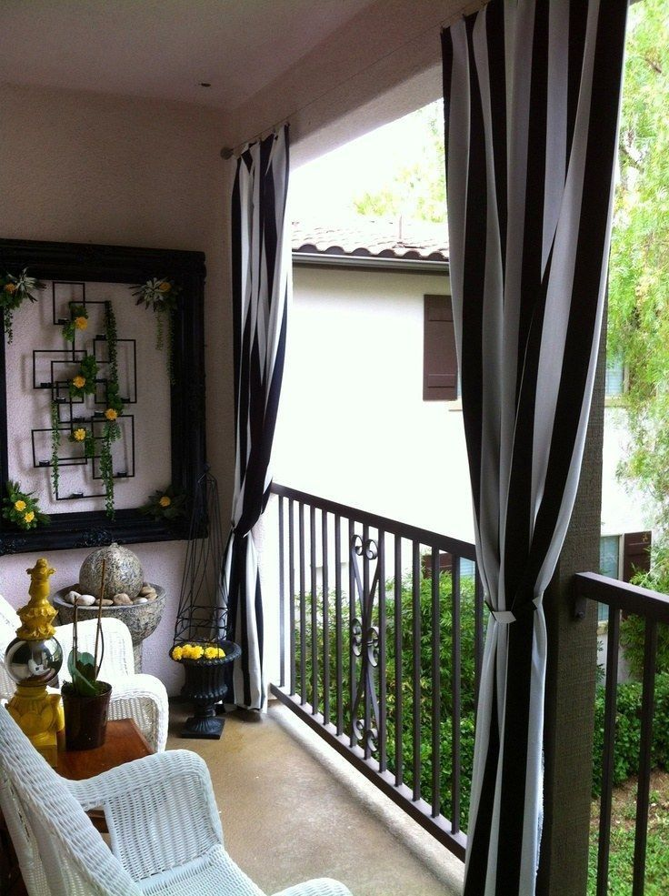 Interiors · Outdoor BalconyBalcony IdeasOutdoor Patio CurtainsTiny ...