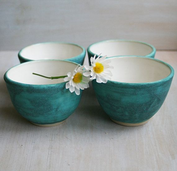 Yunomi Tea Cups Set of Four Rustic Turquoise and by sheilasart
