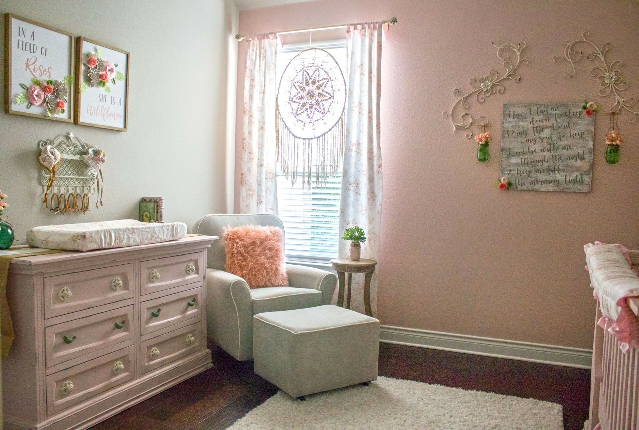 A Shabby Chic Baby Nursery I Painted Distressed Our First S Crib Dresser Hand Crafted The Flowers And Used Decor From My Wedding