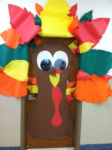 Thanksgiving turkey classroom door in preschool and pre k