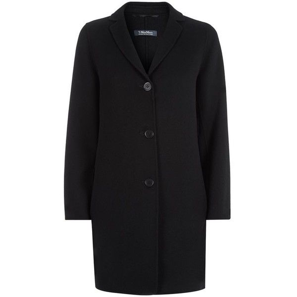 MaxMara Diritto Wool Coat (£550) ❤ liked on Polyvore featuring outerwear, coats, oversized wool coat, maxmara, maxmara coat, oversized coat and wool coat