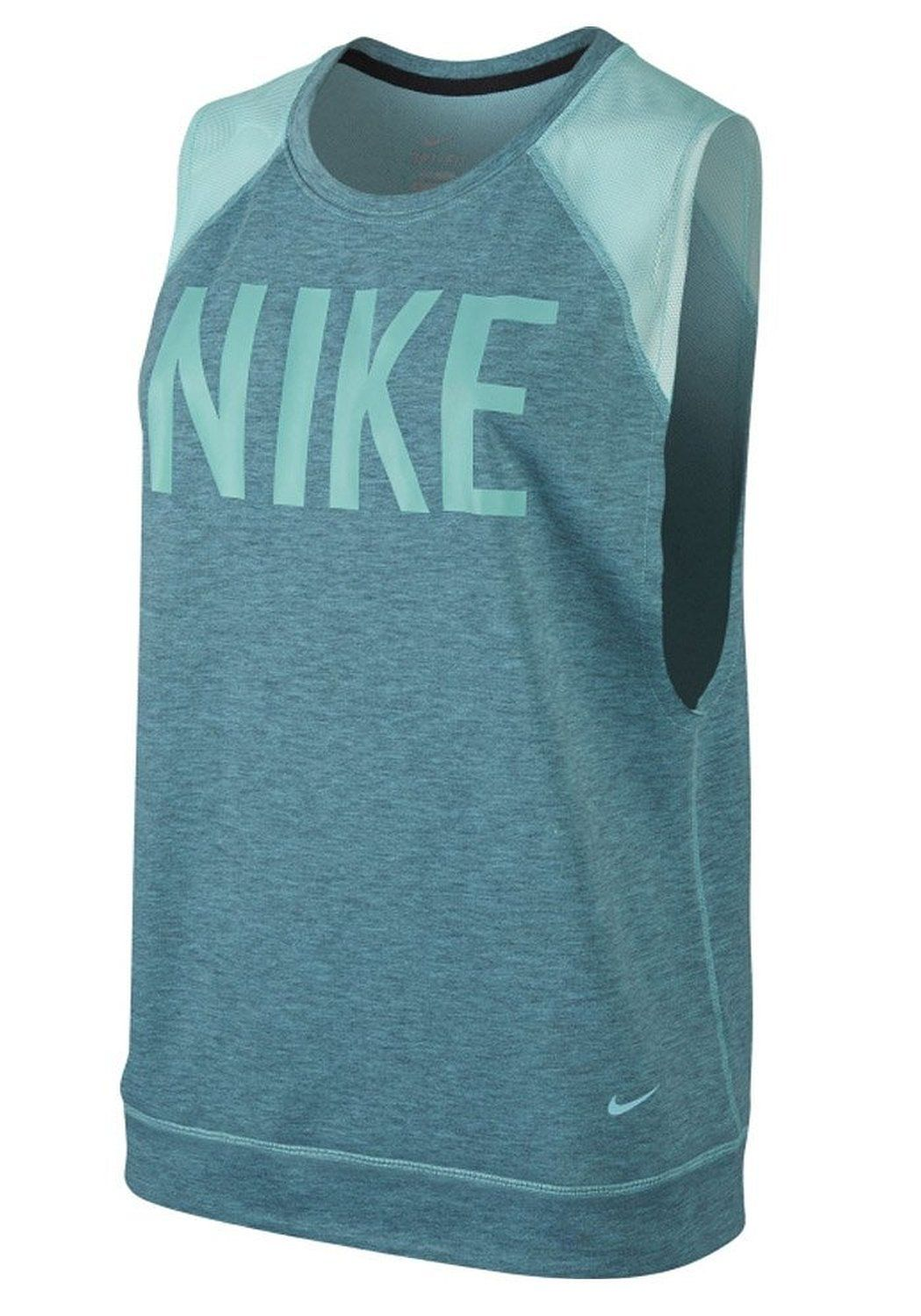 Nike Women's Dri-Fit Sleeveless Graphic Training Top-Mint Green-Medium. 100% polyester. Brushed interior. Mesh at shoulders. Flat seams. Imported.
