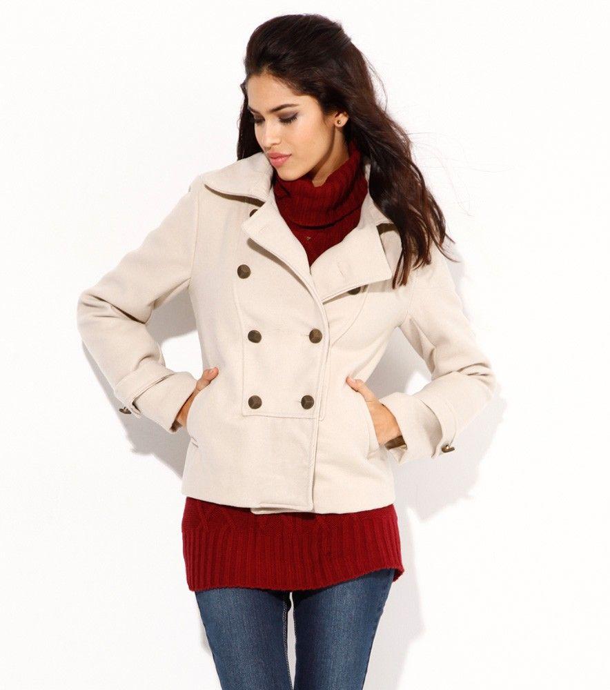 Abrigo corto mujer manga larga militar beige  556684a991ad