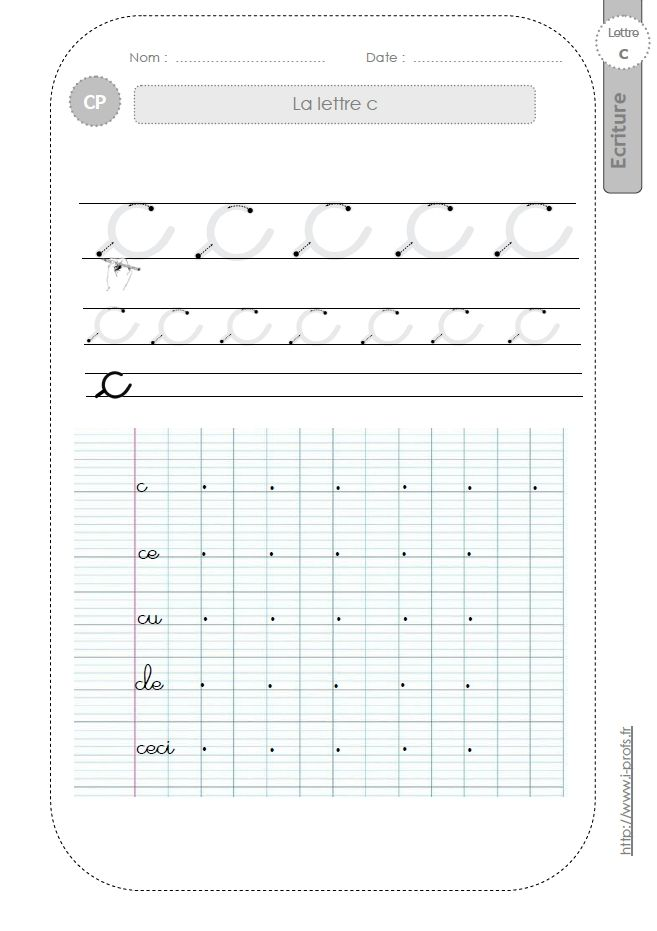 la lettre c au CP:FICHES d'ECRITURE. Modèles d'écriture   Graphisme ...