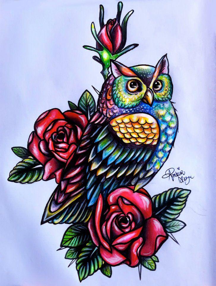 Colored Owl Ink Seni Tato Burung Hantu Seni Grafis