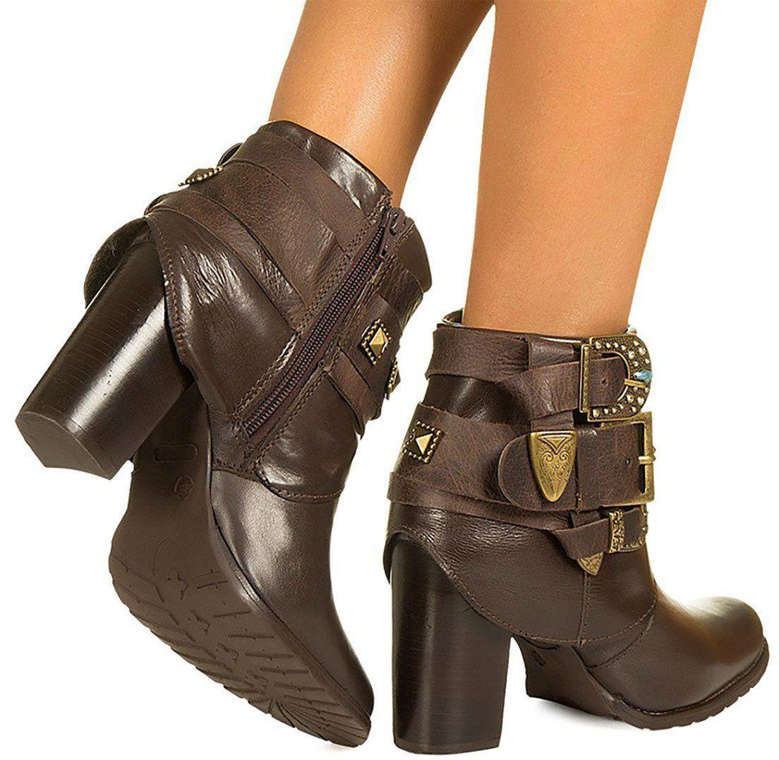 9667484ff55 Bota café com pulseiras Taquilla - Taquilla - Loja online de sapatos  femininos