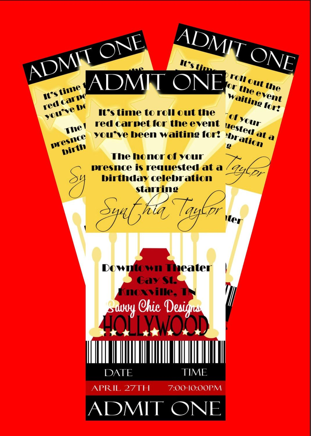 Hollywood Ticket Style Birthday InvitationDIY Printable by Simply – Ticket Style Birthday Invitations