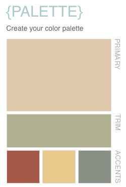 this color palette uses a soft yellow toned neutral brown ng for the primary color a sage green ics for the trim and a rusty red ics simple yellow ics - Home Decor Color Palettes