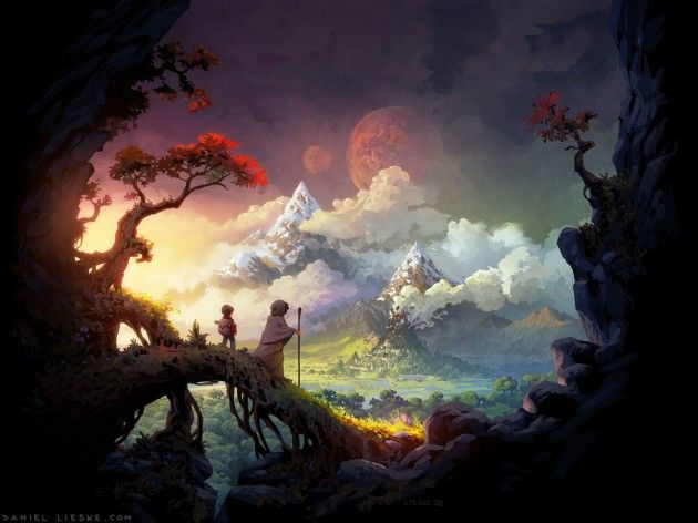 30 Epic Digital Paintings And Illustrations Fantasy Landscape Digital Painting Landscape Wallpaper
