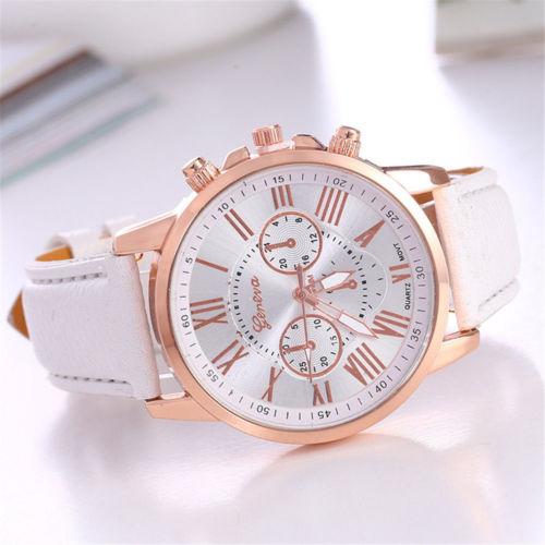 Details about New Fashion Geneva Women Leather Band Stainless Steel Quartz Analog Wrist Watch