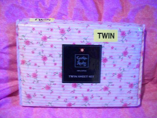 CYNTHIA ROWLEY PINK ROSE FLORAL 3 PC TWIN SHEET SET 100% COTTON SATEEN NIP