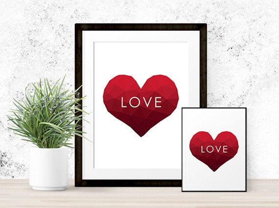"""Polygon Heart """"LOVE"""" Print 