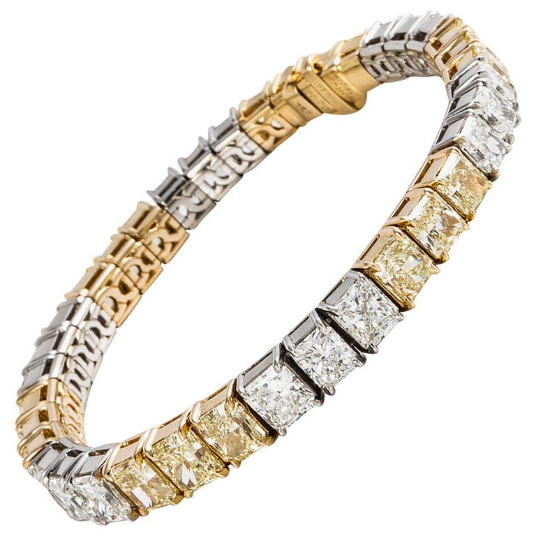 Cartier White And Fancy Yellow Diamond Tennis Bracelet At 1stdibs Cartier Diamond Bracelet Jewelry Tennis Bracelet Diamond