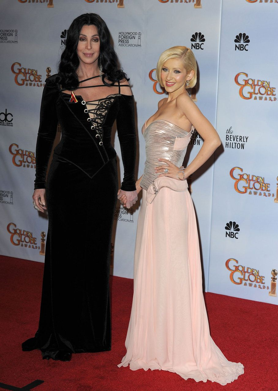 Cher And Christina Aguilera At The Golden Globes Fashion Christina Maria Aguilera Celebrity Style Icons