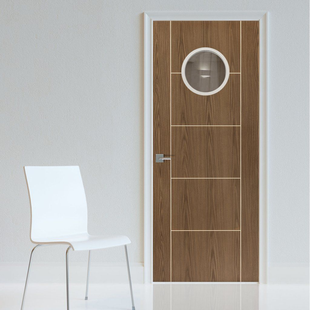 Jbk Porthole 1 Eco Colour Mocha Soft Walnut Painted Fire Door Pre Finished 30 Minute Fire Rated 1 2 Hour Fire Rated Contemporary Doors Door Dividers Doors
