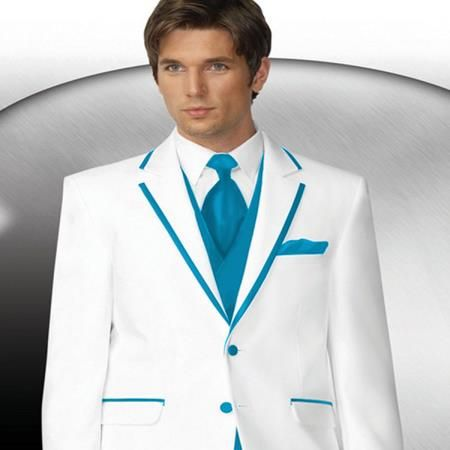 Mens 2 Button Style White Tuxedo With Turquoise Trim Collar + ...