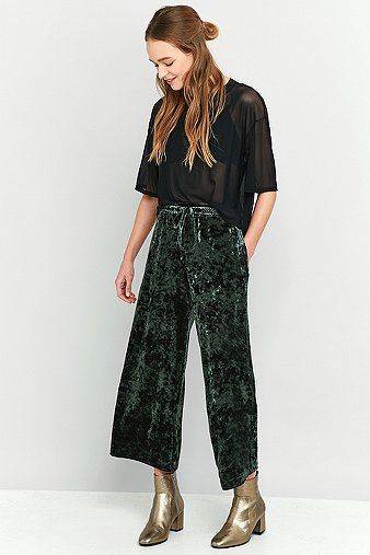 59a8ceb95840a9 Light Before Dark Crushed Green Velvet Culottes | best dressed ...
