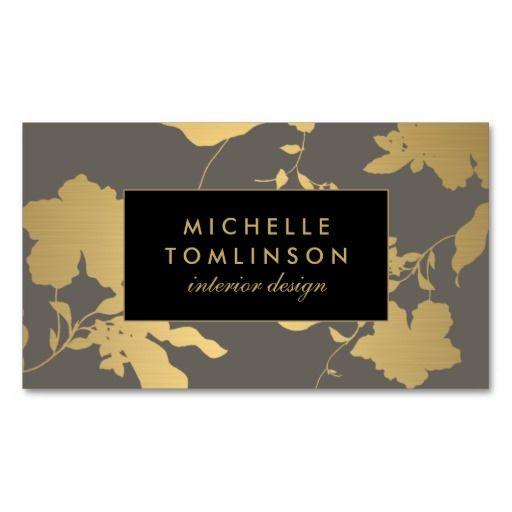 Elegant Gold Floral Interior Designer Business Card Template - Interior design business cards templates free