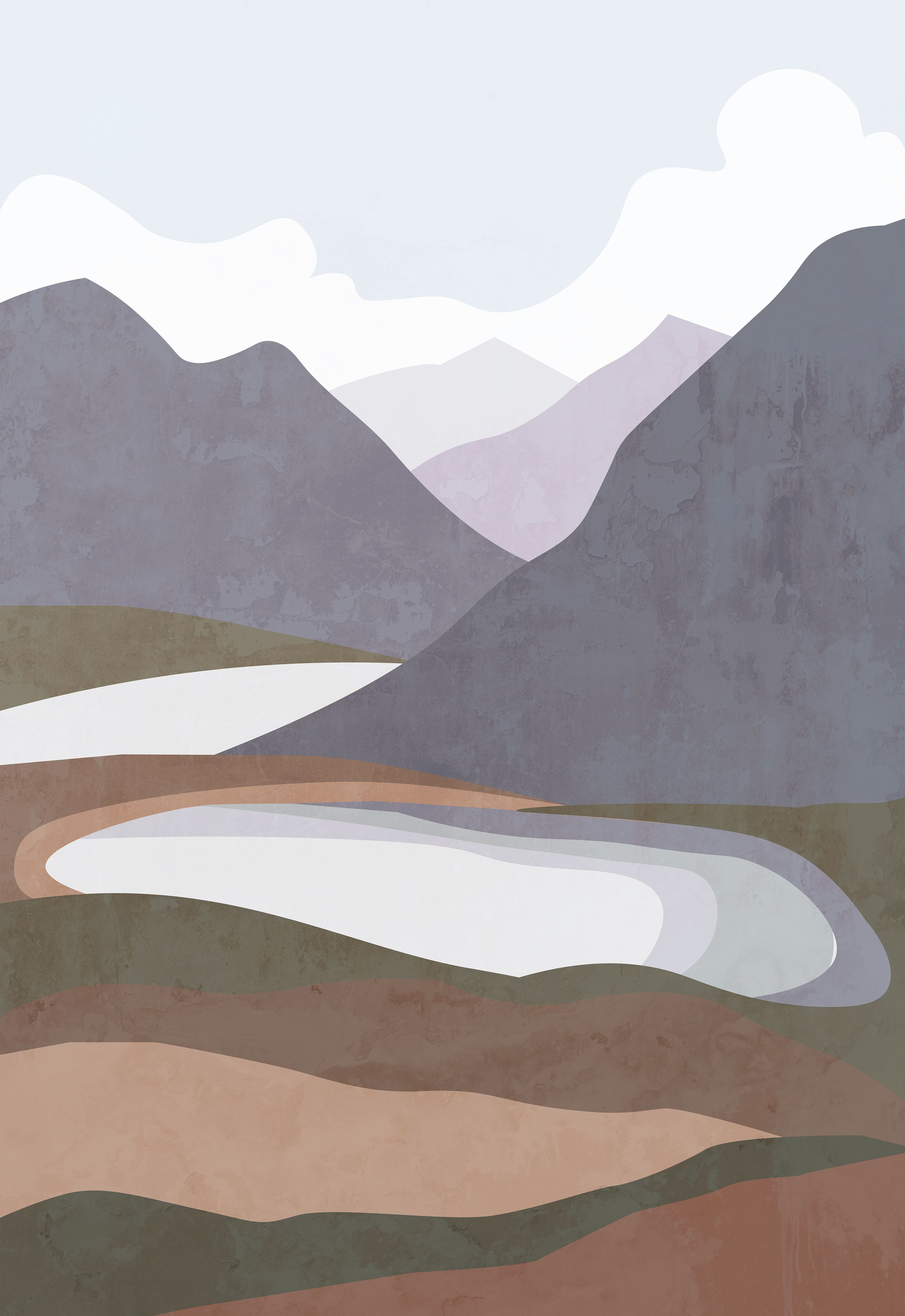 Modern Abstract Mountain Poster Landscape Print Nature Etsy Nature Posters Painting Art Projects Geometric Art