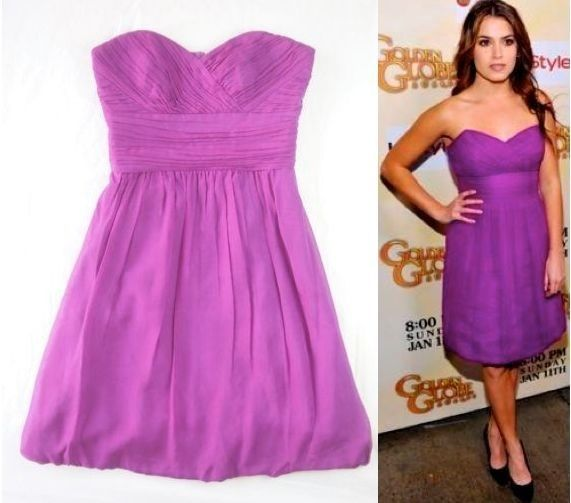 New! SHOSHANNA Violet Purple Ruched Pleat Strapless Bubble Hem Prom Dress 4 S #Shoshanna #strapless #Formal