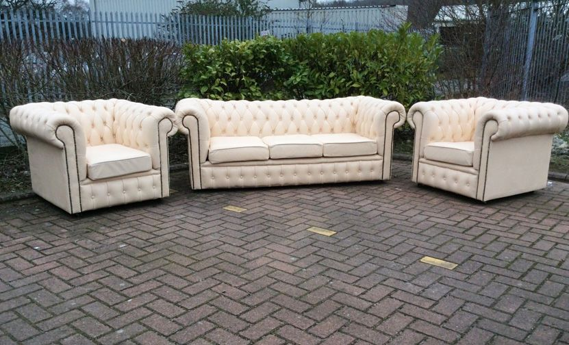 Cream Leather Chesterfield 3 Piece Suite Refurbished Sofas And Armchairs As New But Much Ercream