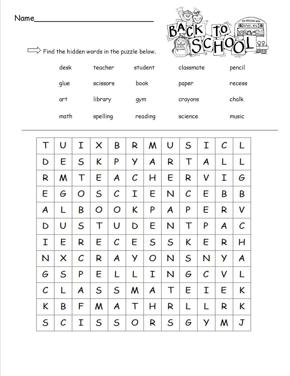 Free Word Search For Kids School