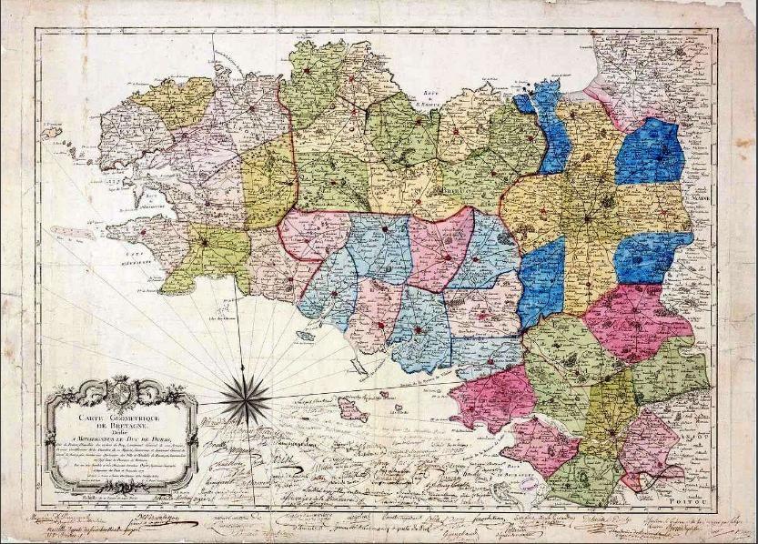 Carte géométrique de Bretagne portant les limites des futurs départements  datant de 1771. Gravure, 57 x 79 cm Archives na… | Carte bretagne, Bretagne,  Carte vintage