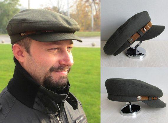 Military cap Fiddler Cap Fishermans Hat Mens Cap by VITArty 3f4782640c34