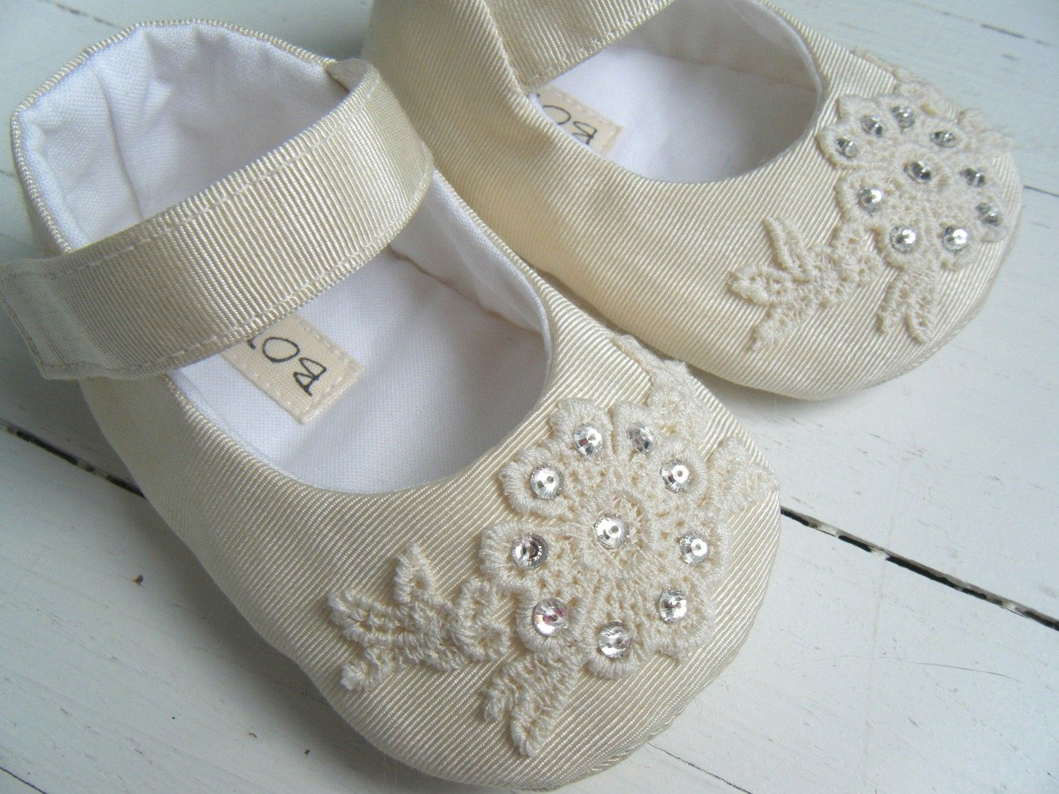 Mary Jane Shoes, Baby Shoes Flats, Ivory Vintage Taffeta, Flower ...