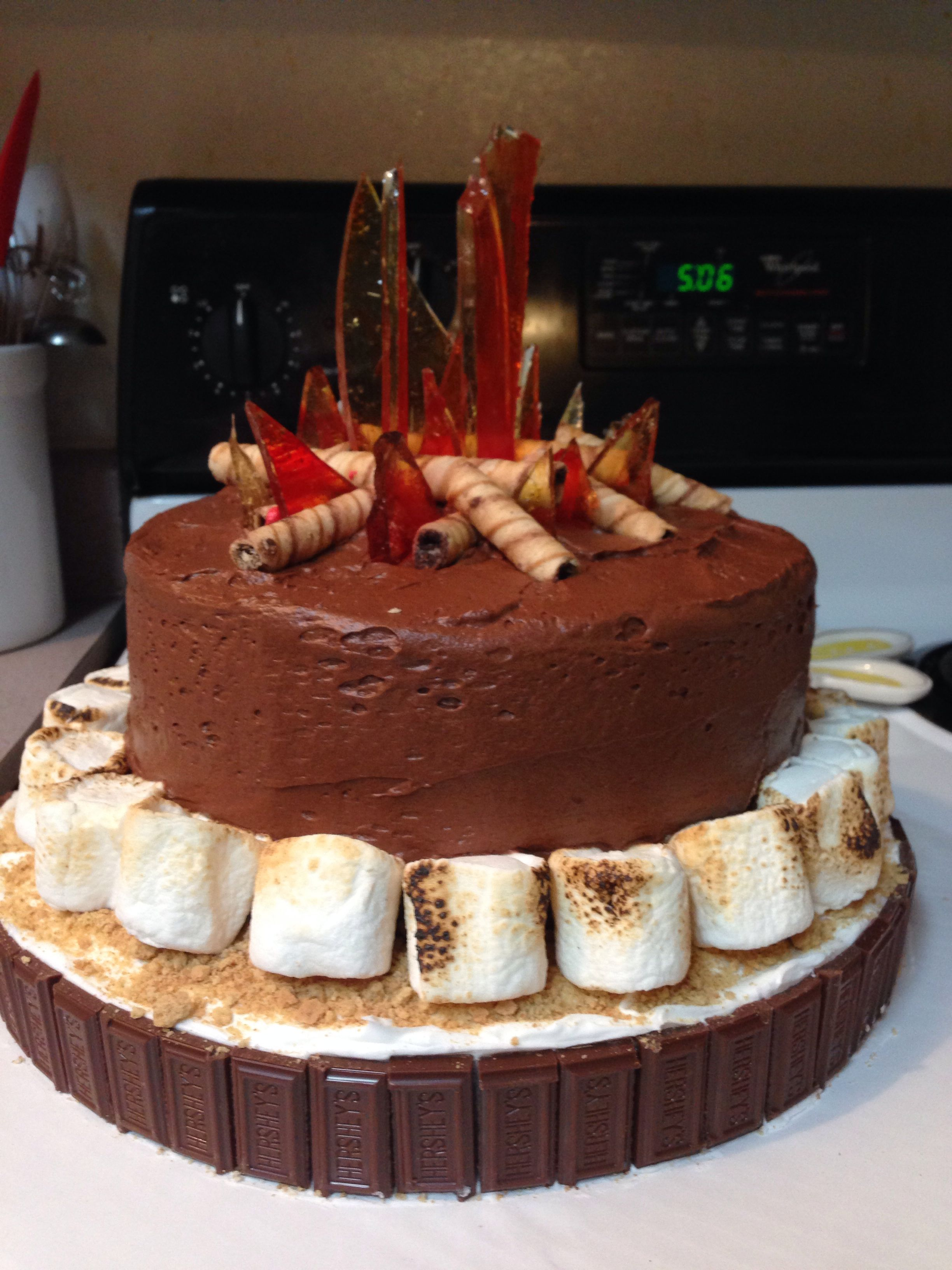 Bonfire Smores Birthday Cake