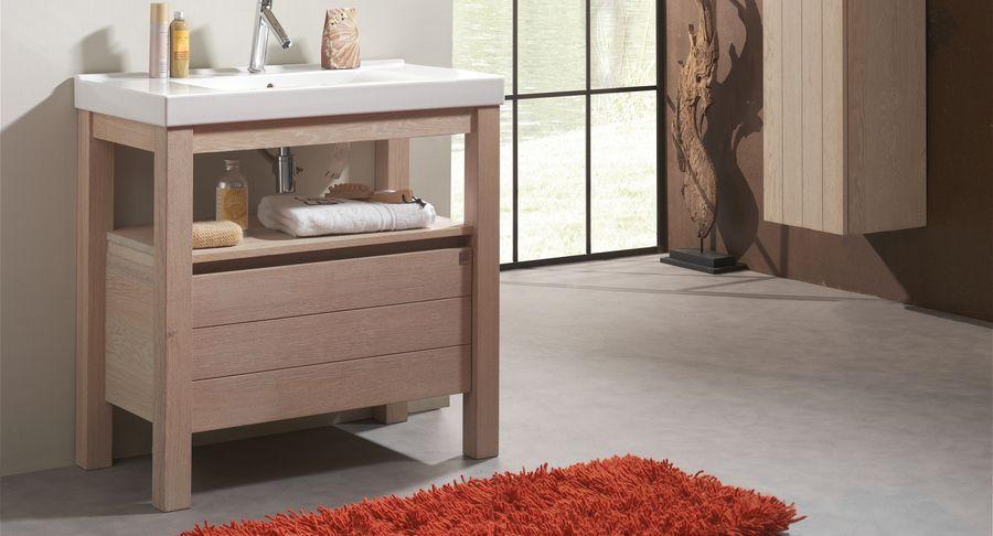 Badkamermeubel Met Badkamerkast : Pandora greeploos en modern badkamermeubel met open badkamerkast