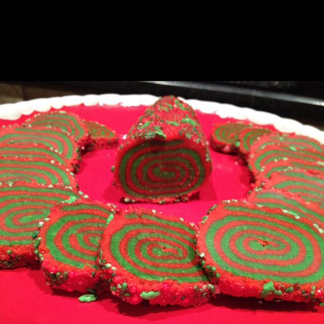 Jellyroll sugar cookies.  Red and green for Christmas, or any other color combo for other occasions.