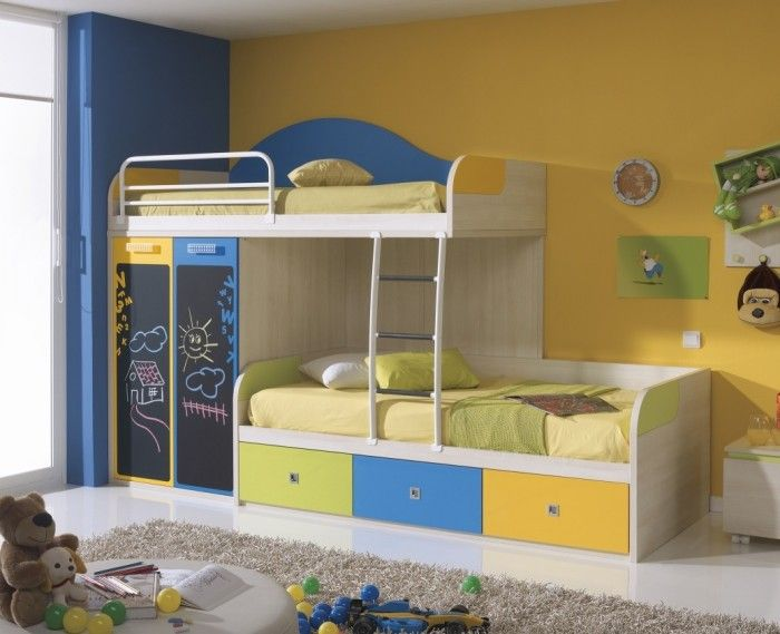 Bedroom Designs The Fascinating Funky Bunk Cabin Bed Space Saver Bunk Bed For Your Beloved Children With Blue Yellow And Green: Space Saver. & Bedroom Designs The Fascinating Funky Bunk Cabin Bed Space Saver ...