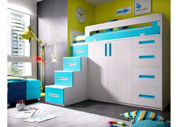 Habitaci n con cama alta sobre modulos block novedades for Habitacion juvenil cama alta