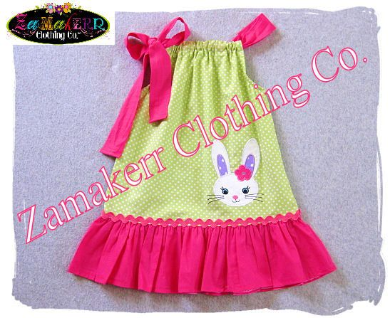 Zamakerr Clothing Co. presents this adorable Custom Boutique Girl EASTER DRESS Available Sizes - 3 6 9 12 18 24 month Size 2 3 4