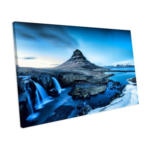 Photo of Mercury Row Canvas Print Mountain and Waterfalls in Iceland in Winter | Wayfair.de