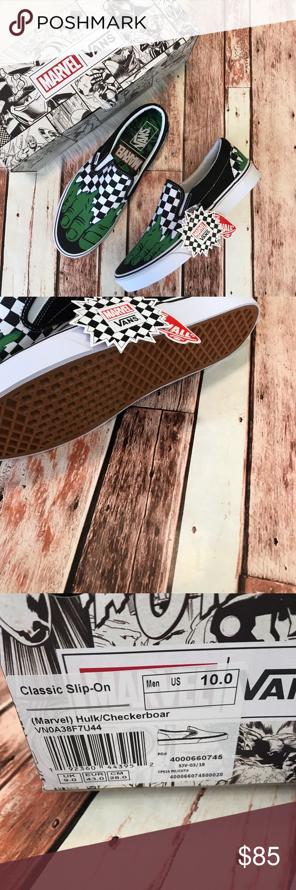 4f1e8be6b2 Vans x Marvel Classic Slip-Ons Checkerboard Hulk Vans x Marvel Classic Slip-Ons  Checkerboard Hulk Print . New in Box. Size 10 . Limited Edition.