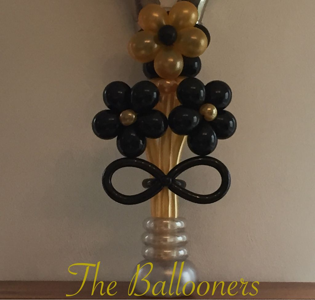 Balloon flower bouquet black gold silver
