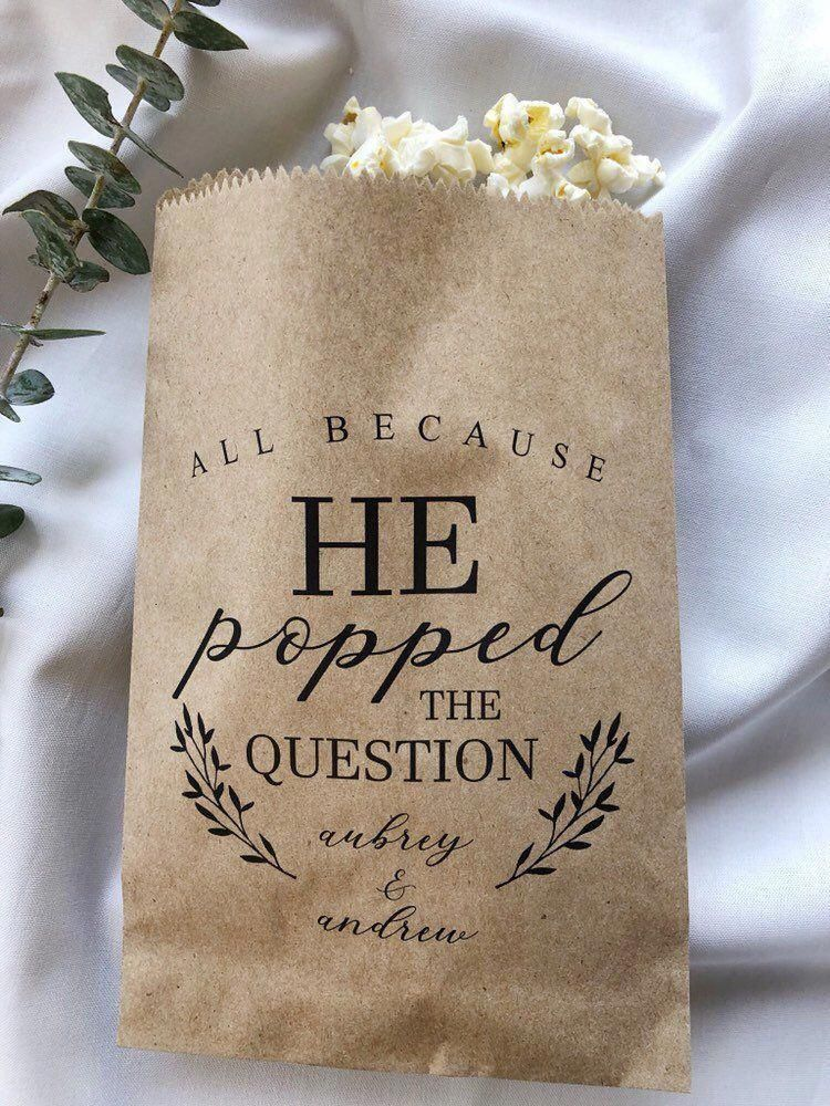 He Popped the Question Popcorn Bags Wedding Favor Bag   Etsy