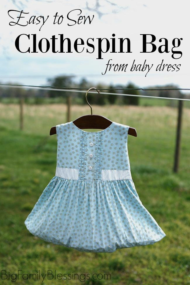 Easy Sew Clothespin Bag From A Keepsake Baby Dress Big Family Best Clothespin Bag Pattern