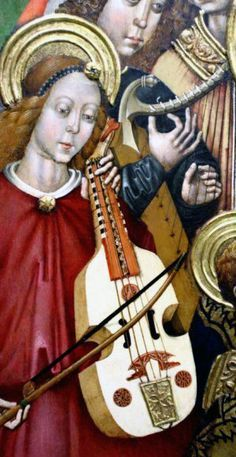 This was until recently thought to be the first viola da gamba to appear on a painting in history (see below). The painting was made by Valentin Montoliu around 1475-85 for the Heremitage of St. Feliu (St. Félix) in Xàtiva (Valencia, Spain).